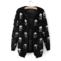 2014 Autumn and winter sweater women's skull mohair medium long cardigan sweater coat Free shipping
