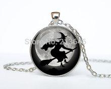 10 pces colar de bruxa bruxa bruxa pingente jóias colar de bruxa trick or treat de vidro jóia a0053 cabochão colar(China (Mainland))