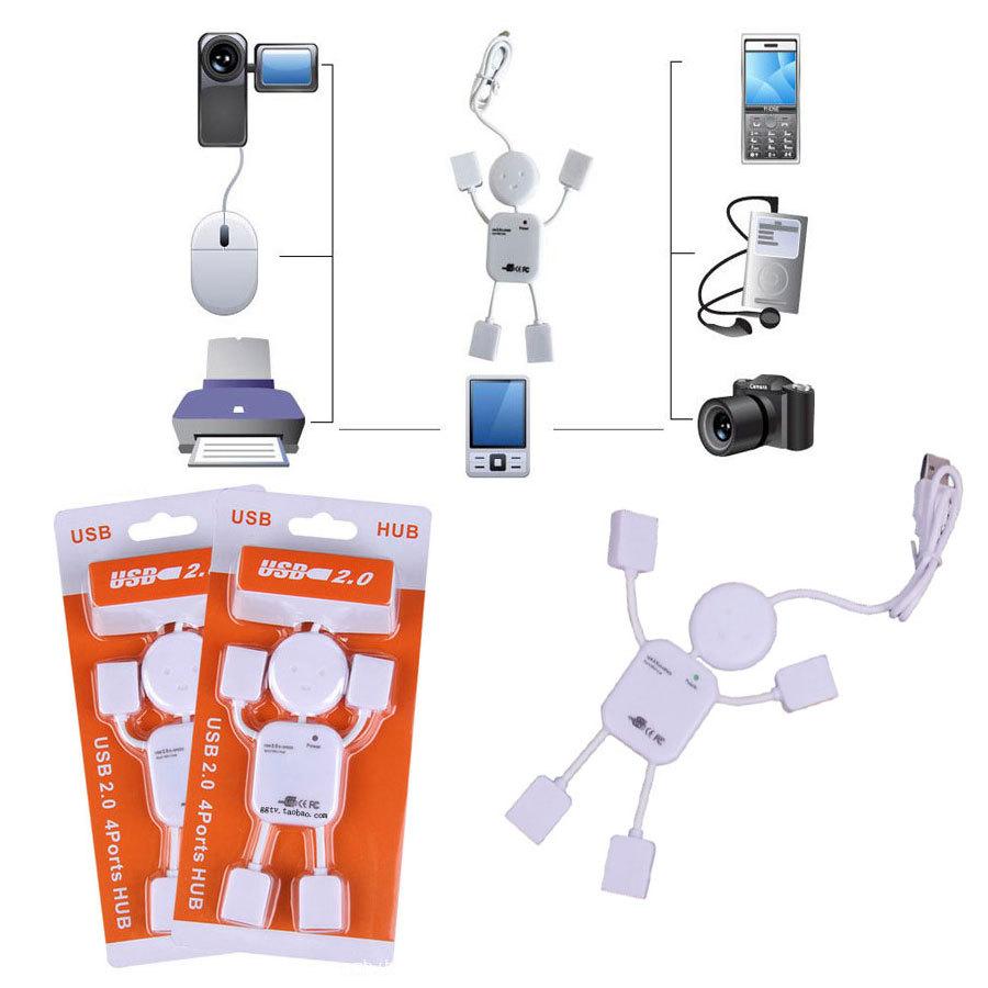 Portable Cute USB 2.0 Human Robot Man Shape 4 Port High-speed Mini Hub(China (Mainland))
