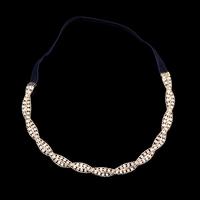 Wholesale  Hair Wrap Wedding/Bridal Hair Jewelry ,Rhinestone Zinc Alloy Hair Brand,Gold Plated Chain Elastic Headband,NL-132