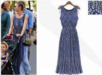 2014 summer new sleeveless floral women long dress made of pure cotton flower show thin dress,LYQ-154