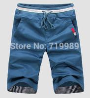 2014 Free shipping Summer new men's pure color cotton sport shorts fashion leisure beach shorts Big size M-XXXL