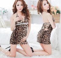 Free Shipping Sexy Lingerie Sleepwear Women's Nightdresses Leopard Hot Home Underwear Suits