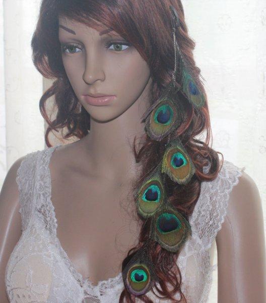 1 Piece 55B1-39 Chain Peacock Feather Hair Extension Hair Clip Lhf140605(China (Mainland))