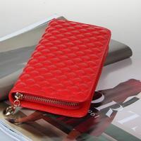 New leather fashion sunflowers diamond lattice Large Zip Wallet Clutch car suture Women wallet W920