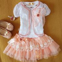 2014 NEW Summer Child Dress Set ( Cape + shirt + Skirt ) Quality Flower Kid Princess Clothing Set Fashion Cotton Girl Clothes