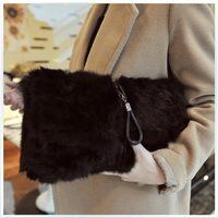New arrive women clutch bags pu leather  fur decorate clutch purses for women female fur leather bag