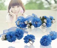 Free Shipping Hot Sale 1set 2014 New Bridal Girl Artificial  Fabrics Silk Elastic Wedding Flower Crown Headband For  Women