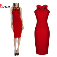 S-XXL 2014 New Women Summer Casual Dress Sexy Strapless Elegant Slim Vestidos Sleeveless Red Bodycon Party Dresses # 6636