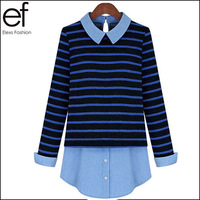 Lanluu Super Trendy 2014 Casual Long Sleeve Cotton Patchwork Denim Hollow Out Striped Women Blouse Shirts SQ309