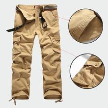 Promotion Men Cargo Pants Camouflage Pants Military Army 100% Cotton Khaki/Green/Brown/Black Big Size 30-44