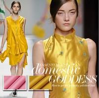100% pure Silk twill fabric luxury silk satin fashion cloth 19mumi gold pink for dress DIY sewing