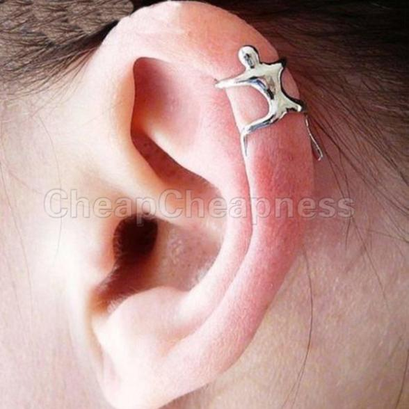 2014 Ear Cuff Helix Cartilage Earring/1 PC Silver Climbing Man Naked Climber(China (Mainland))