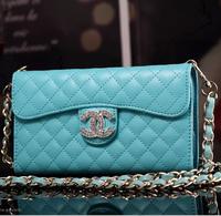 For Samsung Galaxy S5/I9600 detachable long chain lambskin leather belt diamond mobile phone bag