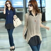 2014 new spring Korean women hollow piece sweater blouse thin sweater twinset tide primer coat