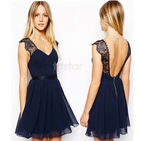 Summer Women Clothing Celebrity Brand Sexy Party Blue Contrast Lace Dress Backless Chiffon Casual Dress SV003703