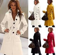 Fashion Trench Coat New 2014 Autumn Winter Women Slim Woollen  Blended Outerwear Thick Warm Adjustable Waist Desigual Coat