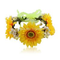 Free Shipping 1pcs 2014 New Bridal Girl  Sunflower Artificial  Fabrics Silk Elastic Wedding Flower Crown Headband For  Women