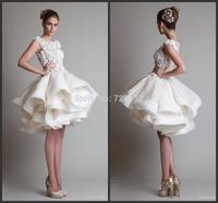 New Arrival Summer Wedding Dresses  Excellent Lace Multi Layer Puffy Skirt Short Wedding Dress vestido de noiva curto