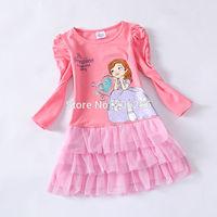 Free shipping Sofia Sophia the first Girl girls long sleeve pink TUTU dress dresses 5pcs/lot SLD01