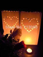 30pcs=3packs X Large Hearts Love Wedding Outdoor Path Tea Light Candle White Paper Bag Lantern  Free shipping