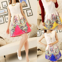 New Fashion 2014 Summer Women Korean Ladies Round Neck Sleeveless Vest Bottoming Slim Flower Print Dress For Women