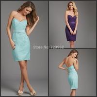 New Summer Dress 2014 Custom Made Wedding Guests Dresses Sheath Lace Knee Length Bridesmaid Dresses vestido de renda