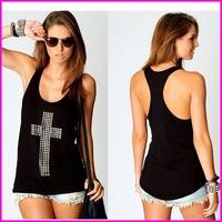 FREE SHIPPING 2014 Women Tank Top Cotton Casual Fashion Diamond Cross Low Thermal Women Summer Vest Women t shirt A5692