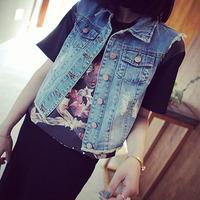 HR011 FREE SHIPPING 2014 fashion summer all-match hole brief short slim denim vest