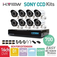 16CH HDMI  DVR 8PCS 700TVL SONY CCD IR Outdoor Weatherproof CCTV Camera 36 LEDs Home Security System Surveillance Kits No HDD