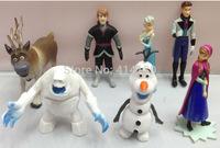 Free shipping  New 7pcs Frozen Princess Figures Toys Dolls Anna Elsa Hans Kristoff Sven Olaf children toys  PVC Action Figures