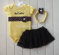 2014 NEW Infantil Romper Set Skirt + Headband +Cotton Jumpsuit Animal Bee Baby Girl Dress Set Summer NB/Toddler/2T Clothing Set