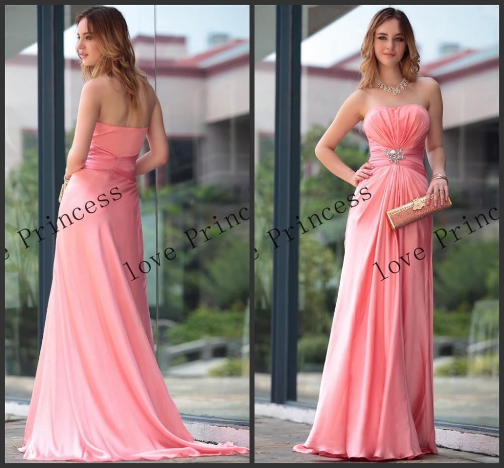 Vestido Breve elegante baratos rosa Bridesmaids Vestidos de festa de casamento vestido longo 2014 New vestido simples para damas de honra P00467(China (Mainland))