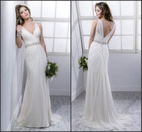 Vestidos De Novia 2014 New Arrival Beading Floor length Chiffon Wedding Dresses Fashionable Bridal Gown Beach Wedding Dress