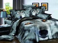 2014 New 3D Wolf bedding set queen size 4pcs Animal print quilt/duvet cover bed sheet bedclothes set cotton home textile