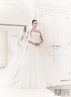 Sexy Strapless Lace Top Ball Gown Wedding Dress Wedding Gowns(WDZU-1047)