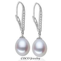Pearl Dangle Earrings Genuine Sterling Silver 925 Zircon Earring 8mm Natural Teardrop Pearls Bridal Bridesmaid Fashion Jewelry