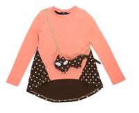 Girls Tee Shirt Long Sleeve Irregular Hem Cute Cat Bag Included Size 4-11 Years design t shirt brand t