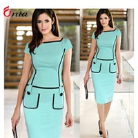 S-XXL 2014 New Summer women Casual bodycon Dress Short Sleeve Slash neck Vestidos Party Dresses Slim OL Work Clothes # 6638