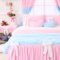 Luxury Flannel Cute Girls And Kids Bedding Sets, Korean Style Romantic Falbala Rural Bedding Sheets Sets, Twin Queen Size