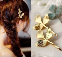 2014 Gold Leaf Leaves Fashion Bridal Wedding Womans Barrettes Clip Hair Jewelry Hairwear Princeness Wholesale Lot Brand Design