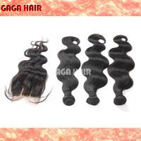 GAGA Hair Product 100% Unprocessed Virgin Human Hair 3 Bundle With 2 Way Part Closure Virgin Brazilian Body Wave Hair Extension