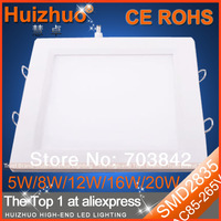 [Huizhuo Lighting]Free Shipping 10pcs/lot SMD2835 12W/16W/20W Recessed LED Downlight 3 Years Warranty Square LED Panel Light