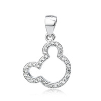 GND0748 Free shipping Wholesale 925 Sterling Silver Micro-pave Simple Design Cute Bear Head 21*14.5mm Pendant For Women