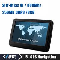 5 inch Car GPS Navigator Sirf Atlas VI 800MHZ FM/8GB/DDR256MB best gps for Navitel Russia/Belarus/Ukraine/Kazakhstan A5003NO