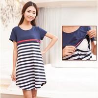 2014 Dresses 2in1 Short Sleeve Stripe Cotton Summer Maternity Dress Pregnancy / Pregnant Women Nursing Breast Feeding Clothes