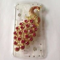 For Lenovo S820 case,Bling Crystal rhinestones Colorful Peacock Cover for lenovo s820 diamond case PC skin Freeshipping