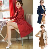 Casacos Femininos Inverno 2014 Autumn Winter Slim Trench Coat Double Breasted Women's Coats Plus Size XXXL Free Shipping WWF100