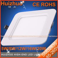 [Huizhuo Lighting]Free Shipping 20pcs/lot Square SMD2835 5W/8W/ Recessed LED Panel Downlight Aluminum LED Ceiling Panel Light
