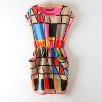 2014 New Arrival women's British Style Plaid Dress Fashion Multi Colorful Plaid Chiffon Geometric Dresses Summer Drop shipping